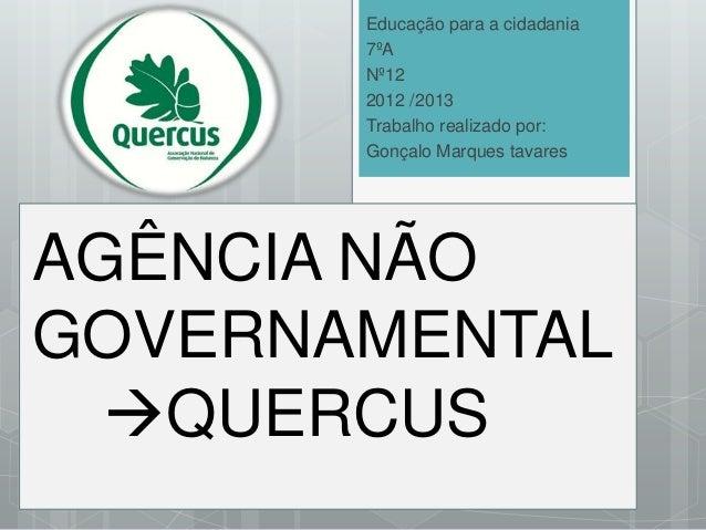 Educação para a cidadania 7ºA Nº12 2012 /2013 Trabalho realizado por: Gonçalo Marques tavares  AGÊNCIA NÃO GOVERNAMENTAL ...