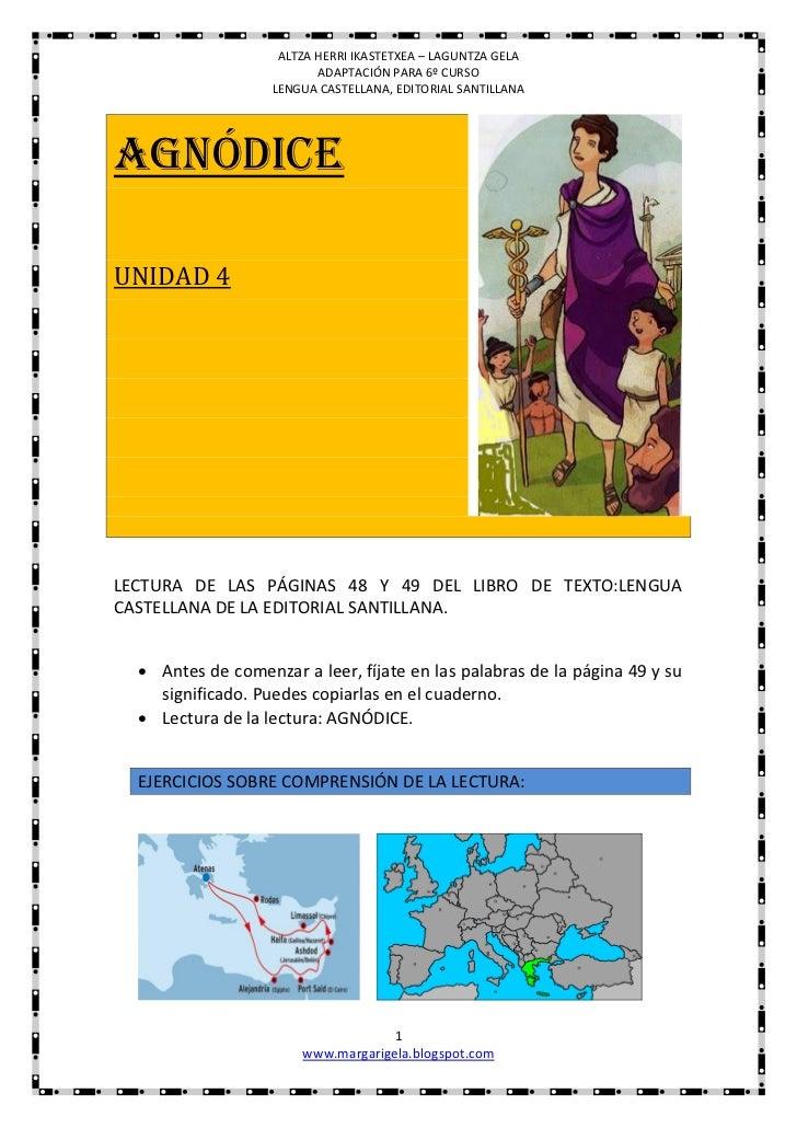 ALTZA HERRI IKASTETXEA – LAGUNTZA GELA                          ADAPTACIÓN PARA 6º CURSO                   LENGUA CASTELLA...