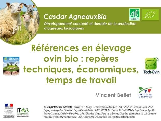 Références en élevage ovin bio : repères techniques, économiques, temps de travail Vincent Bellet