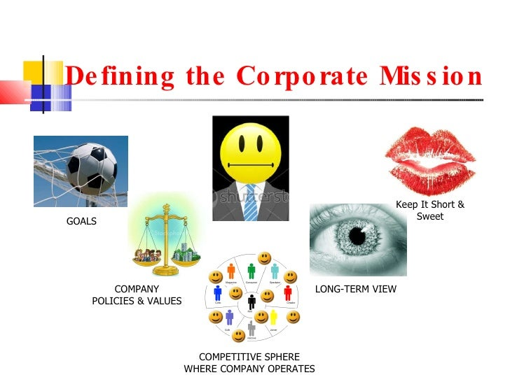 Defining the Corporate Mission GOALS COMPANY POLICIES & VALUES COMPETITIVE SPHERE WHERE COMPANY OPERATES LONG-TERM VIEW Ke...