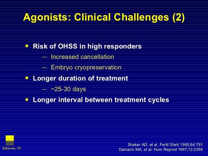 Agonists: Clinical Challenges (2) <ul><li>Risk of OHSS in high responders </li></ul><ul><ul><li>Increased cancellation </l...