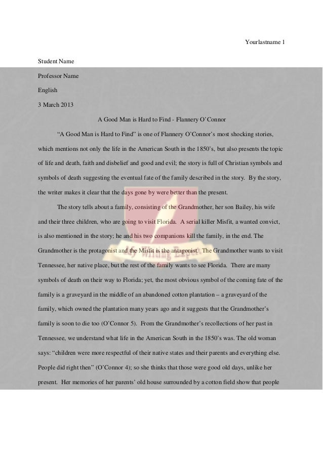 a good man is hard to find critical essay