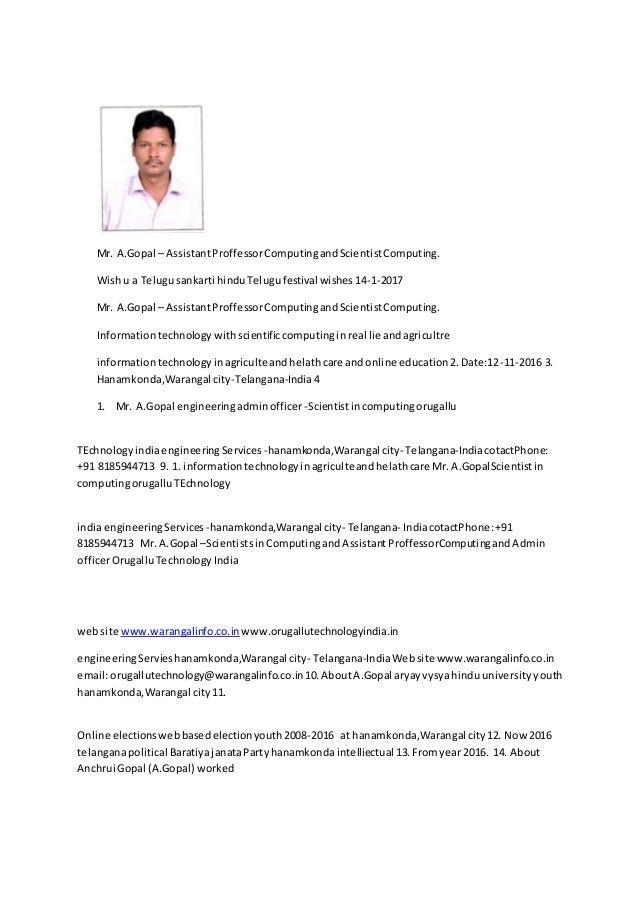 Mr. A.Gopal – AssistantProffessorComputingandScientistComputing. Wishu a Telugusankarti hinduTelugufestival wishes14-1-201...