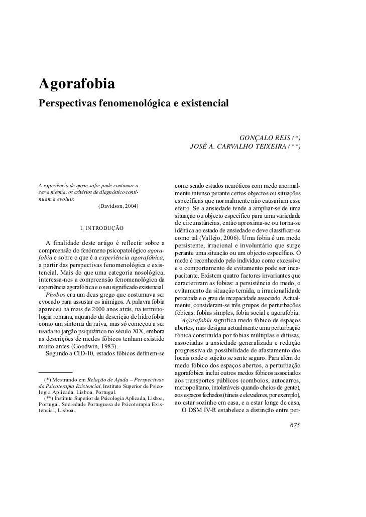 AgorafobiaPerspectivas fenomenológica e existencial                                                                       ...