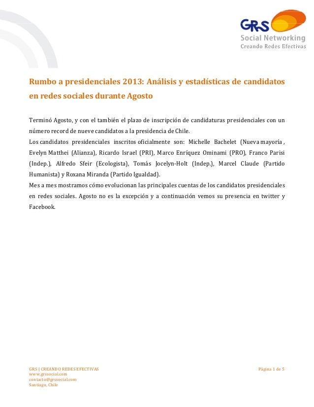Rumbo a presidenciales 2013: Análisis y estadísticas de candidatos en redes sociales durante Agosto Terminó Agosto, y con ...