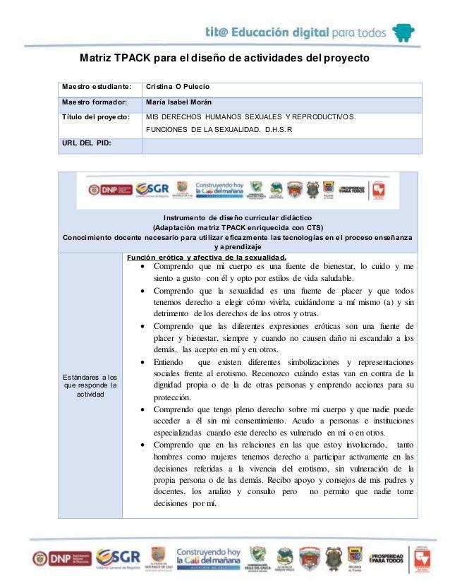 Matriz TPACK para el diseño de actividades del proyecto Maestro estudiante: Cristina O Pulecio Maestro formador: María Isa...