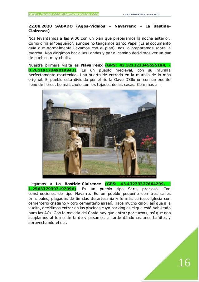 http://www.conmiautocaravana.com LAS LANDAS ETA AUSKALO! 16 22.08.2020 SABADO (Agos-Vidalos – Navarrenx – La Bastide- Clai...