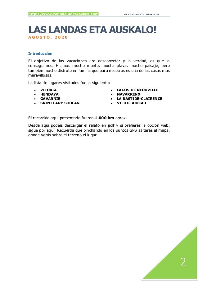 http://www.conmiautocaravana.com LAS LANDAS ETA AUSKALO! 2 LAS LANDAS ETA AUSKALO! A G O S T O , 2 0 2 0 Introducción El o...