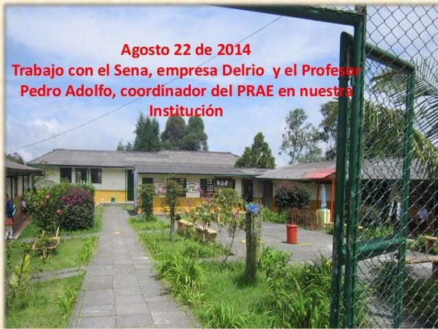 Agosto 22 de 2014  Trabajo con el Sena, empresa Delrio y el Profesor  Pedro Adolfo, coordinador del PRAE en nuestra  Insti...