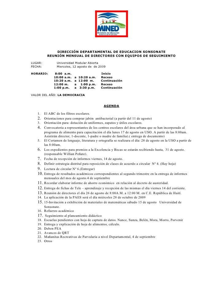 DIRECCIÓN DEPARTAMENTAL DE EDUCACION SONSONATE            REUNIÓN MENSUAL DE DIRECTORES CON EQUIPOS DE SEGUIMIENTO  LUGAR:...