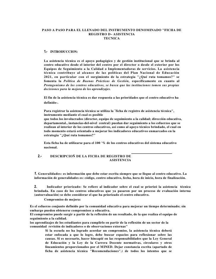 """PASO A PASO PARA EL LLENADO DEL INSTRUMENTO DENOMINADO """" FICHA DE REGISTRO D~ ASISTENCIATECNICA<br />INTRODUCCION:<br />La..."""
