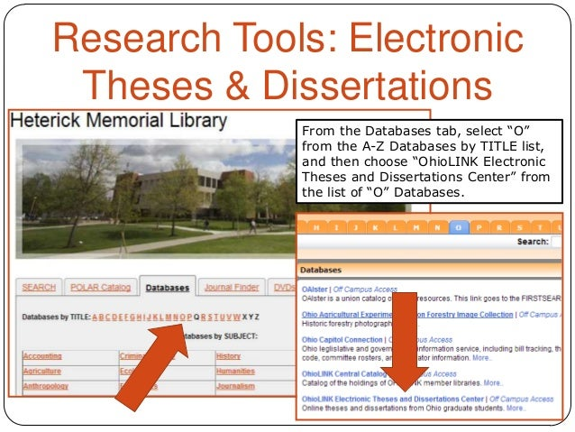 ohiolink electronic theses and dissertations center Full text available from 1997- selected full text prior to 1997 find citations for dissertations and theses from 1861 to the present abstracts are available online 1980 to the present prior to 1980, entries indicate the source, volume, and page number in the following sources where the abstract is located:.