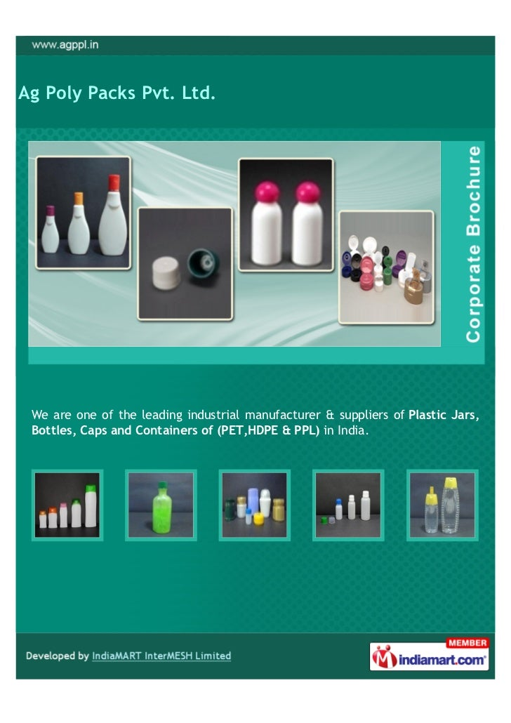Ag Poly Packs Pvt. Ltd. We are one of the leading industrial manufacturer & suppliers of Plastic Jars, Bottles, Caps and C...