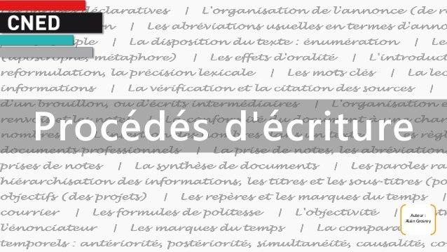 Auteur : Alain Grosrey Procédés d'écriture