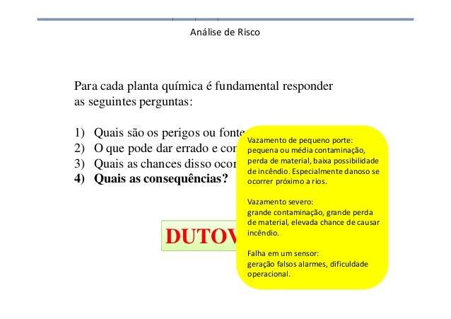 Análise de Risco Para cada planta química é fundamental responder as seguintes perguntas: 1) Quais são os perigos ou fonte...