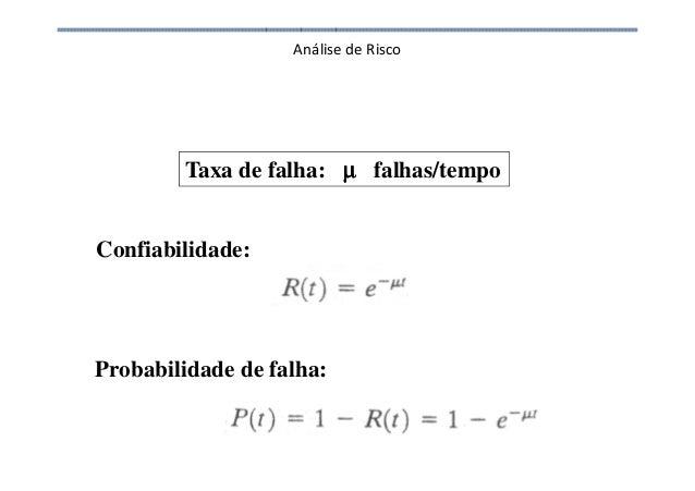 Análise de Risco Taxa de falha: µµµµ falhas/tempo Confiabilidade: Probabilidade de falha: