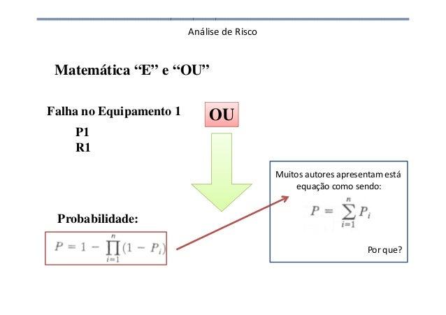 """Análise de Risco Falha no Equipamento 1 P1 R1 Probabilidade: Matemática """"E"""" e """"OU"""" Muitos autores apresentam está equação ..."""