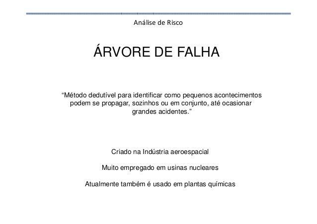 Análise de Risco ÁRVORE DE FALHA Criado na Indústria aeroespacial Muito empregado em usinas nucleares Atualmente também é ...