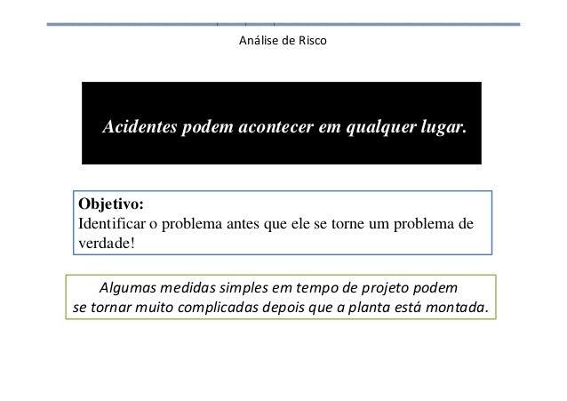 Análise de Risco Acidentes podem acontecer em qualquer lugar. Objetivo: Identificar o problema antes que ele se torne um p...