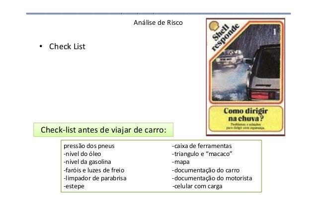 Análise de Risco • Check List Check-list antes de viajar de carro: pressão dos pneus -caixa de ferramentas -nível do óleo ...