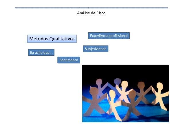 Análise de Risco Métodos Qualitativos Eu acho que... Sentimento Experiência profissional Subjetividade