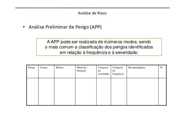 Análise de Risco • Análise Preliminar de Perigo (APP) A APP pode ser realizada de inúmeros modos, sendo o mais comum a cla...