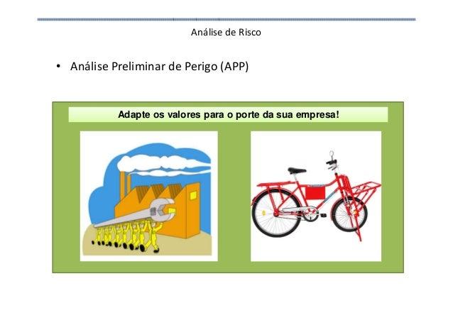 Análise de Risco • Análise Preliminar de Perigo (APP) Adapte os valores para o porte da sua empresa!