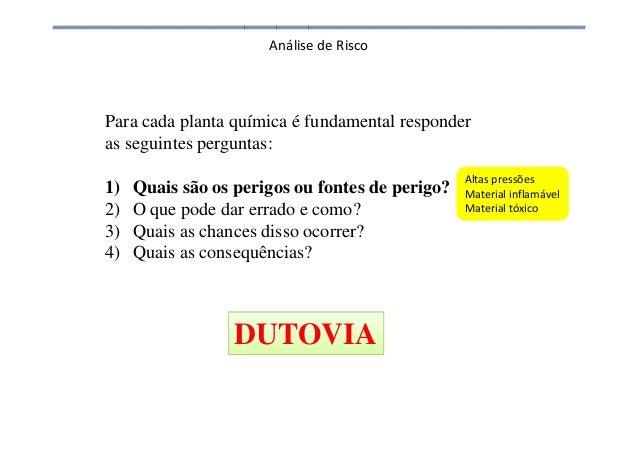 Análise de Risco Altas pressões Material inflamável Material tóxico Para cada planta química é fundamental responder as se...