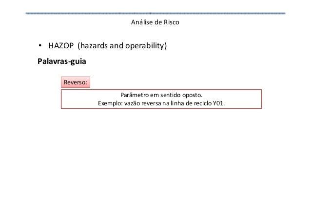 Análise de Risco • HAZOP (hazards and operability) Palavras-guia Parâmetro em sentido oposto. Exemplo: vazão reversa na li...