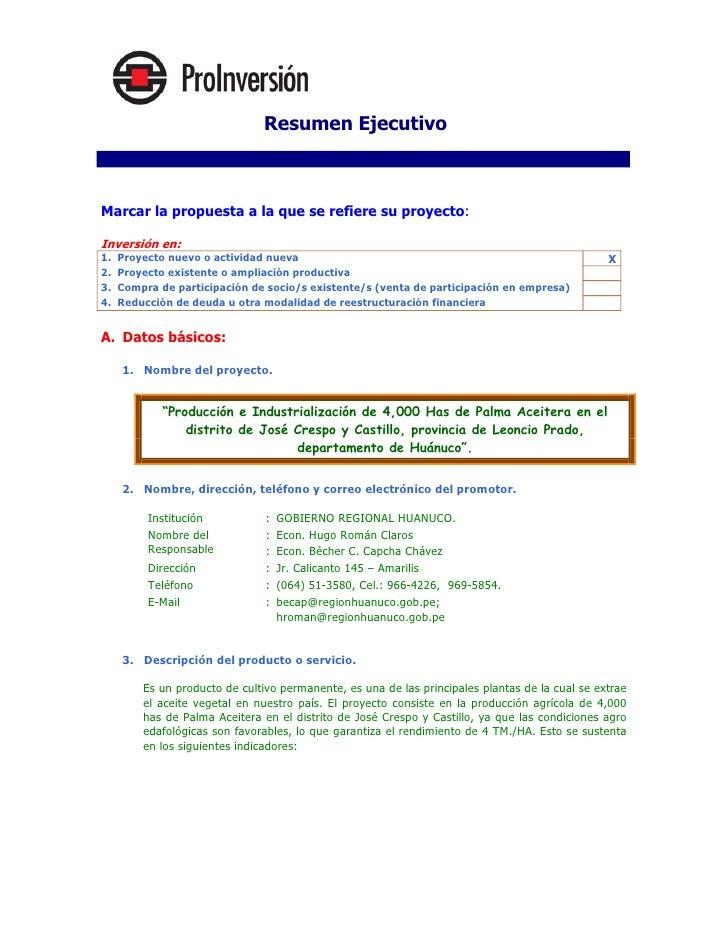 Resumen Ejecutivo I. Proyecto   Marcar la propuesta a la que se refiere su proyecto:  Inversión en: 1.   Proyecto nuevo o ...