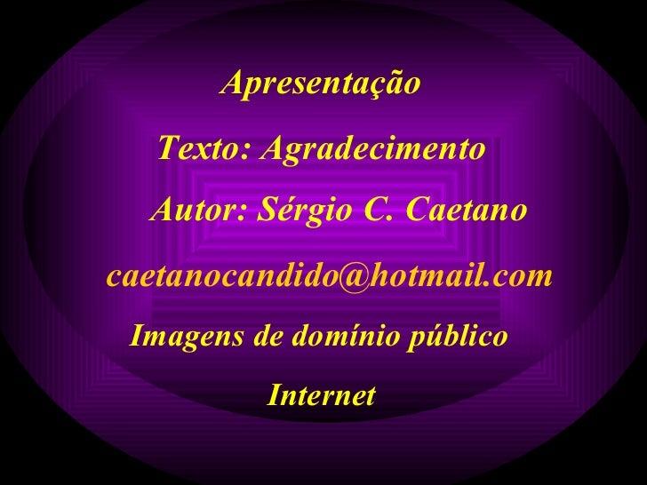 Apresentação Texto: Agradecimento Autor: Sérgio C. Caetano [email_address] Imagens de domínio público Internet