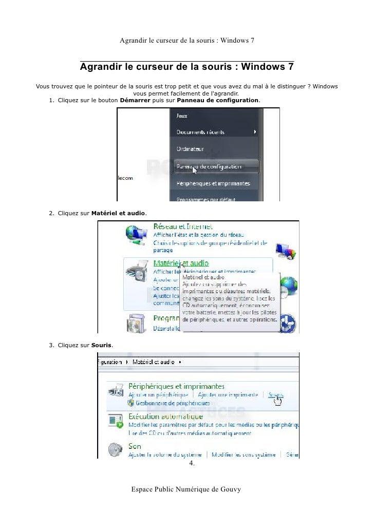 Agrandir le curseur de la souris : Windows 7               Agrandir le curseur de la souris : Windows 7Vous trouvez que le...