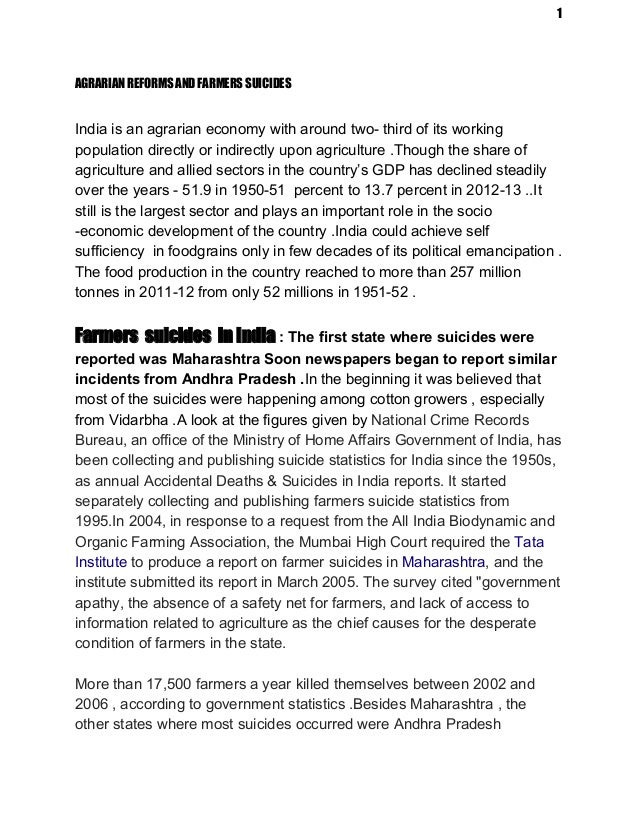 essay on farmers suiciding in karnataka