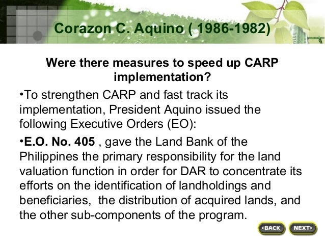 carp comprehensive agrian reform program Comprehensive agrarian reform program (carp) essay  in 1988, the government launched the carp through republic act (ra) 6657, seeking the distribution of some 10m hectares of agricultural lands to farmers and regular farm workers.