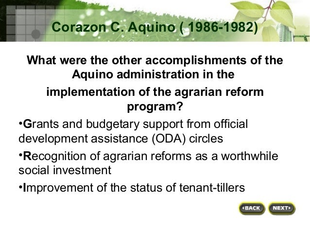 agrarian reform project The foundation was contracted by the government of the philippines through its department of agrarian reform (dar) to support the implementation of the second.