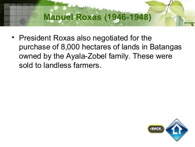 agrarian reform under elpidio quirino As you already know, i ascended the presidency under the most  they had  cloaked by agitation for so-called social and agrarian reforms.