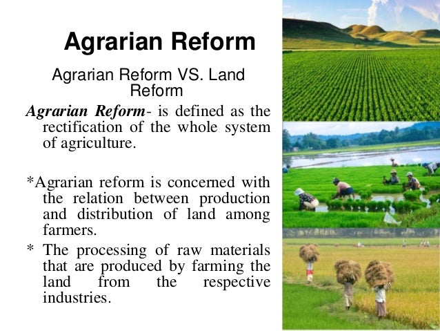 the comprehensive agrarian reform After the overthrow of dictator ferdinand marcos in 1986 and in response to unrest and rural social movements, the philippine congress enacted, under the administration of former president.