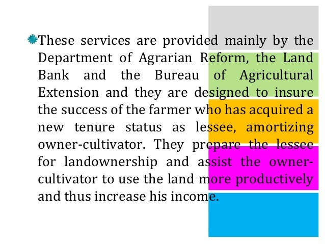 """status of agrarian reform The paper entitled """"agrarian reform: a struggle for social justice"""" aims to give  the current status of agrarian reform in the philippines it also aims to provide the ."""