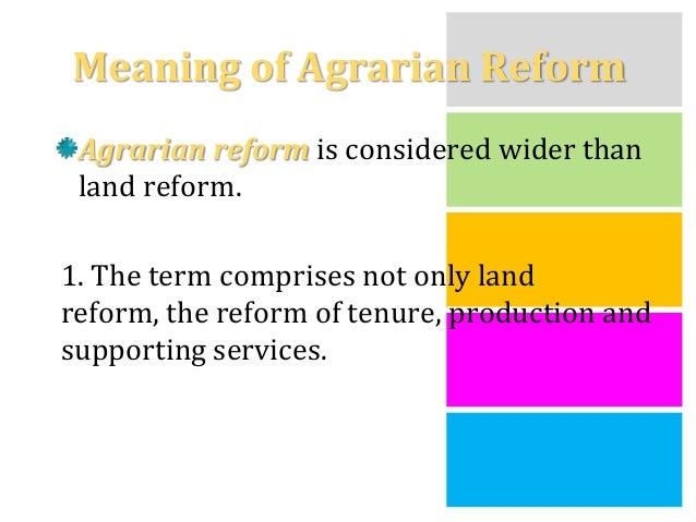 status of agrarian reform The comprehensive agrarian reform program, more commonly known as carp,  this component seeks to secure the tenurial status of the farmers and farmworkers.