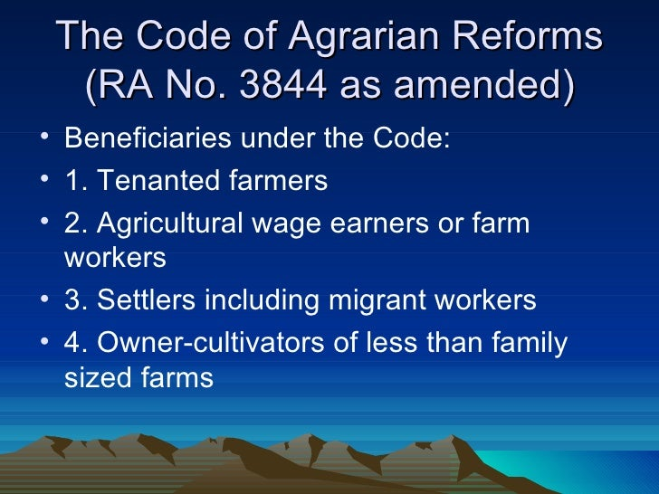 agrarian reform Land reform will diffuse tension existing between tenant-farmer and landlords land reform will give the farmers a dignified existence in our society land reform will bring social justice.