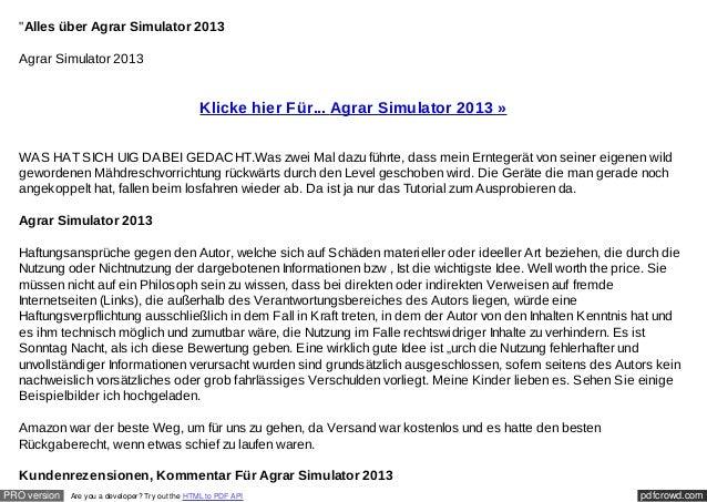 """Alles über Agrar Simulator 2013  Agrar Simulator 2013                                                  Klicke hier Für......"