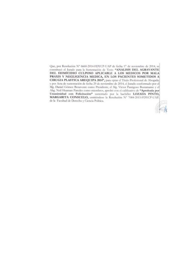"""i FACULTAD DE DERECHO Y CIENCIAS POLITICAS ESCUELA PROFESIONAL DE DERECHO FILIAL-AREQUIPA TESIS: """"ANALISIS DEL AGRAVANTE D..."""