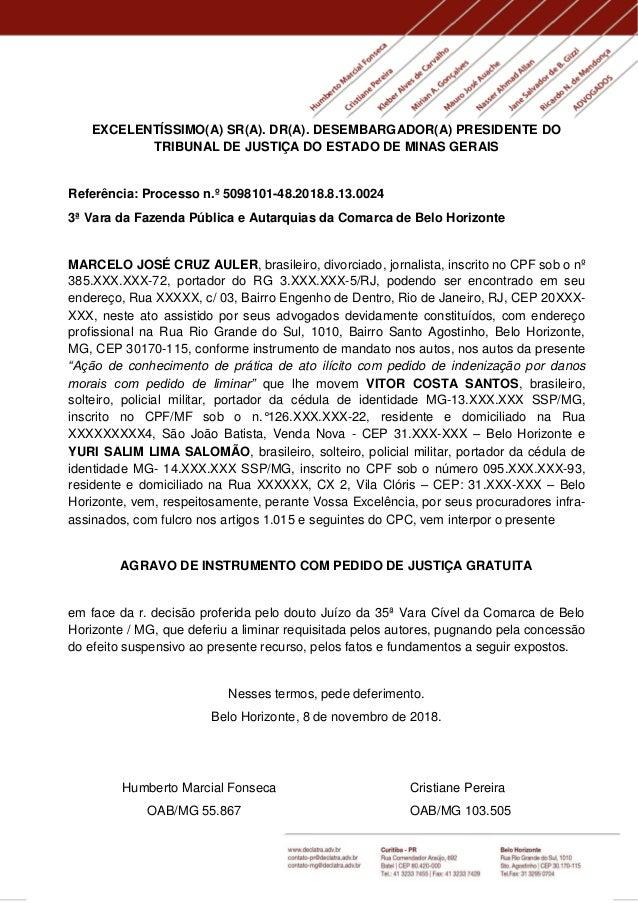 EXCELENTÍSSIMO(A) SR(A). DR(A). DESEMBARGADOR(A) PRESIDENTE DO TRIBUNAL DE JUSTIÇA DO ESTADO DE MINAS GERAIS Referência: P...