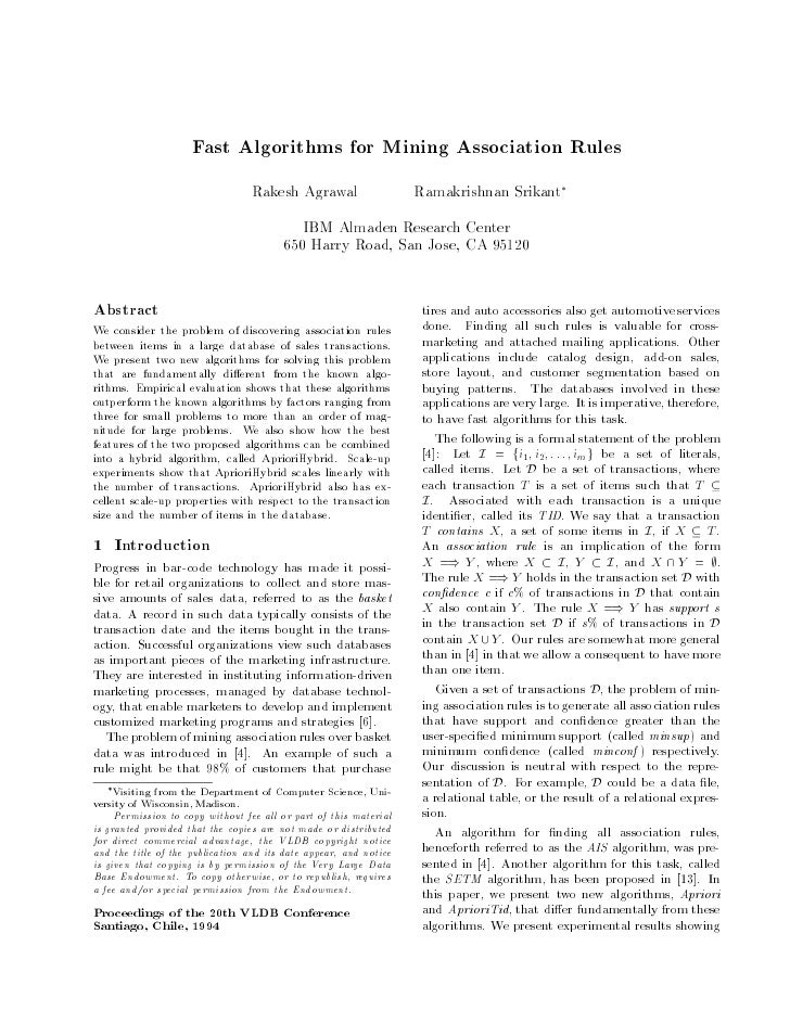 Fast Algorithms for Mining Association Rules                                  Rakesh Agrawal                   Ramakrishna...