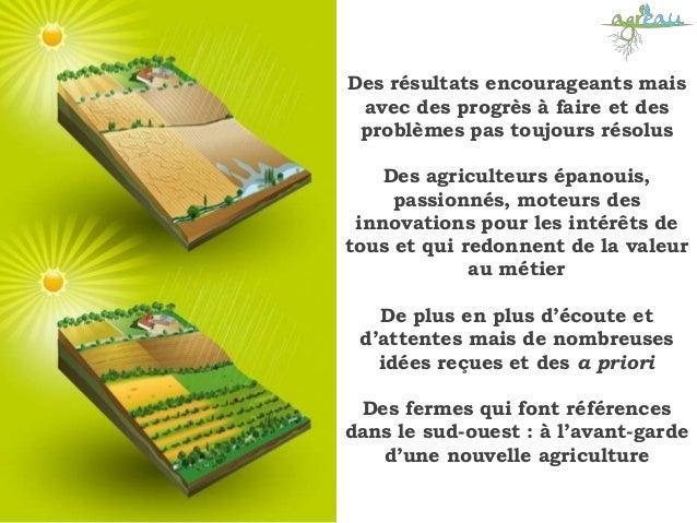 Des résultats encourageants mais avec des progrès à faire et des problèmes pas toujours résolus Des agriculteurs épanouis,...