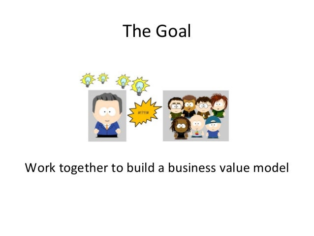 The Goal Work together to build a business value model