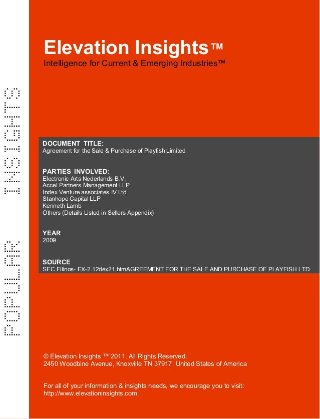 Elevation Insights™  | Agreement for the Sale & Purchase of Playfish Limited, Electronic Arts