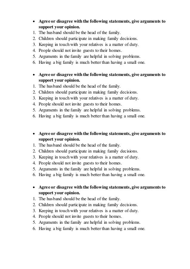 Agree disagree statements for students