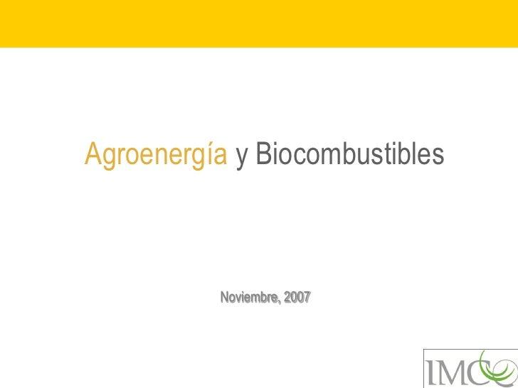 Agroenergía y Biocombustibles          Noviembre, 2007
