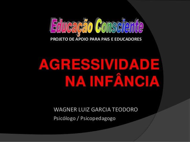 AGRESSIVIDADE NA INFÂNCIA WAGNER LUIZ GARCIA TEODORO Psicólogo / Psicopedagogo PROJETO DE APOIO PARA PAIS E EDUCADORES